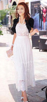 Wholesale 2012 hot sale new arrival fashion Crocheted lace embroidery sling long dress work dress FREE SH