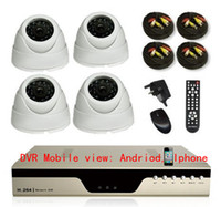 Wholesale 4CH CCTV Kits Indoor CCTV DVR Surveillance Security IR Cameras System x TVL CMOS Cam m IR