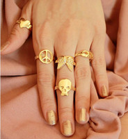 Wholesale Pieces Set New Skull Heart Peace Symbol Bow Wing Mask Wish Ring