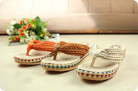 Wholesale New style Sweet lady shoes The Cane Flip flops Summer Casual shoes Orange brown beige Wedges cm