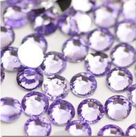 Wholesale Crystal AB Nail Art Rhinestone flatback silver Light purple