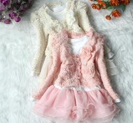 Girls 2pcs Clothing Set Pink Long Sleeve SweatShirt+Tutu Cake Dress Lace Chiffon Children Outfits