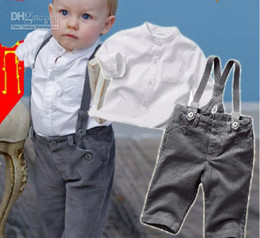Wholesale Gentleman style suits baby boy long sleeve shirt with overalls set kids cool clothing set