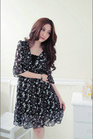 Wholesale Korean mast yards Women s V Neck Floral Chiffon Dress