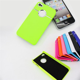 Wholesale Silicone Cases For Iphone China - China Post -2012 Newest Back Cover with Chrome metal ring Hole Rear For iphone 4 case 12 color-anna