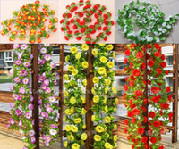 Fabric artificial ivy - 10pcs M colors Artificial Silk Flower Garland Vine Ivy Home Wedding Garden Decoration