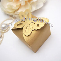 FREE SHIPPING+ 50pcs lot Gold Color Butterfly Top Candy boxes...