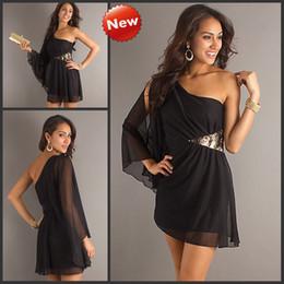 Long Sleeve Cocktail Dress on Black Chiffon Long Sleeve Cocktail Dress One Shoulder Club Dresses