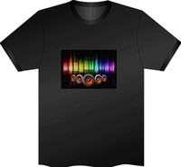 Wholesale 120Pcs Fashion Music Party Equalizer LED T shirt EL T Shirt Sound Activated Flashing T Shirt Light Up and Down