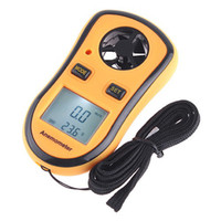 Wholesale 2 in Digital Pocket Handy Anemometer Wind Speed Meter Thermometer LCD Display Yellow