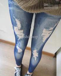 Wholesale Leggings Slim Tights For Women Sexy European and American Fashion Womens Leggings Seamless Imitation Jeans HLFS