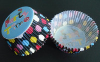 cakecups bake parts - 2012 multi ball dot part time with black color baking paper cup muffin cases for party
