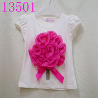 Wholesale Girls short sleeve T shirts girls d flower shirt color tops leafage petalage baby clothing