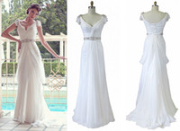 Reference Images 2012 - 2012 Sexy A Line Wedding Dress V Neckline Beaded Draped Sweep Train Chiffon Bridal Gowns Vanessa