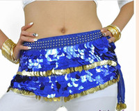 Wholesale new style belly dance costume blue amp gold Egypt dance coins dancing belt