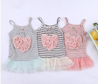 Wholesale Children dress Girls striped yarn flower harness dress