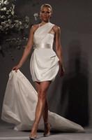 Wholesale Sexy Short Wedding Dresses One Shoulder Crystal Beaded Detachable Train Mini Bridal Gowns