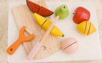 Wholesale Baby Kid Children Wooden Kitchen Toys Cook house Educational Fruit set baby toys