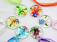 Wholesale 6pcs mix color fashion Art D flower Lampwork murano glass pendant necklace jewelry BS010