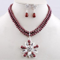 Wholesale fashion shell pearl Necklace Earrings Set European and American style necklace earring set FAS