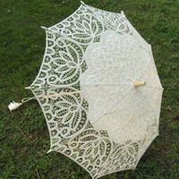 Lace victorian parasol - wedding handmade ivory cotton SUN BATTEN victorian LACE PARASOL UMBRELLA