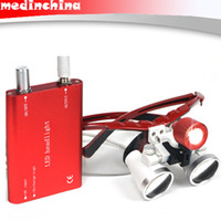 Wholesale RED Dental Surgical Binocular Loupes X Optical Glass420mm LED Head Lamp light