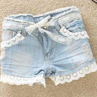 Wholesale 2012 new hot shorts washed denim short pants ripped jeans lace hemline and lace belt short trousers