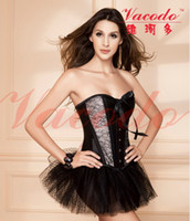Women Corset & Bustier Christmas Free Shipping! Classic Black Satin Bondage Corset Sexy Lace Bustier Without Skirt Dress S-XXL 9148