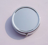 metal pill box - NEW Round Metal Pill Organizer Box of Medicine DIY Silver Color Boxes Free Ship
