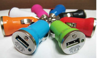 Wholesale Newest Mini USB Car Charger Adapter Universal for PDA MP3 MP4 any Mobile Phone Colorful