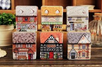 Wholesale Cute House tin box lenses Box Jewelry earing Case Iron Case tea box storage box vintage Statio