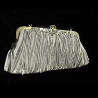 Wholesale In stock real picture silver satin pleated string Bridal handbag clutch Evening Party Handbag R001