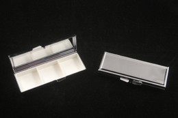 Wholesale New Pill box Blank Rectangle Pill Case Silver Metal Pill Container X