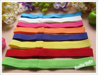 Wholesale 60pcs Sample inch Elastic Hair Headband Soft Kids Headwear Top Baby Hairband Crochet Hair Ribbon