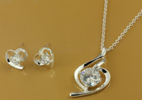 Wholesale hot gift silver fashion Charms new Novel crystal Elegan earring necklace best set Jewelry Pt1039