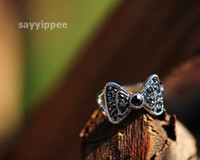 Band Rings Women's OTHER Fashion Jewelry Butterfly Ring Black Stone Alloy Ring Jewelry #5094