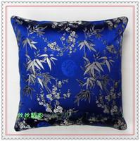 al por mayor almohada azul cubre 18-Mejores 18 x 18 Fundas de Almohadilla azul suave Damasco de alta calidad de superficie doble Plum de bambú patrón de cojines de cojín para sofá silla de coche decorativa