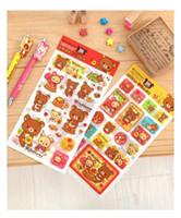 Wholesale New set cartoon Bear Rilakkuma deco PVC paper sticker note Decoration label