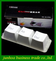 Wholesale 3 x Keyboard Cup Plastic black white keyboard button Cups Ctrl Del Alt coffee mug tray