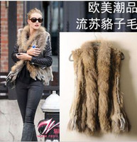 Wholesale Hot Sale Woman Knitted Rabbit Fur Vest With Raccoon Fur Collar Giletwaist warm coat