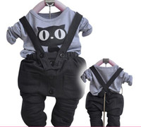 Boy 1-3 years 70 80 90 100 2012 Autumn suit Baby boy autumn clothing 2pcs set T-Shirt+overalls New arrival Cool cat style 4sets