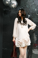 Wholesale Maternity Dress Chiffon White dresses fashion elegant pregnant woman skirt with two large flower