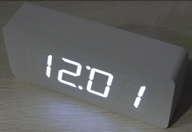 Blanc Led Alarm Clock Wooden Clock Alarm Led