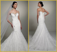 Wholesale Delicate White Sweetheart Mermaid Trumpet Floor Length Sweep Lace Bridal Gowns Wedding Dresses