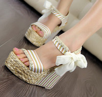 Red Women Spool Heel hand-woven summer ribbon sandals navy style high-heeled wedges women fashion lovely platform shoes