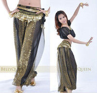 Wholesale fashion woman belly dance costumes Bloomers clothes pants belts black set black coins belts
