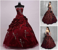 Wholesale Custom Make Cheap Burgundy Embroidery Quinceanera dresses Prom Dresses Ball Gowns Free Petticoat