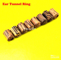 Unisex wood Chirstmas Wood Ear Plug Tunnel Piercing Body Jewelry Ear Tunnel Rings Piercing Jewelry 50Pcs Lot