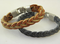 Wholesale New Arrival Genuine Braided Leather Wristband Bracelets Mens Leather Jewelry Stock