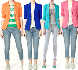 Wholesale HOT Women s A Buckle Slim Casual Candy colors Suit Jacket Blazer XS S M L Mixed Batch color